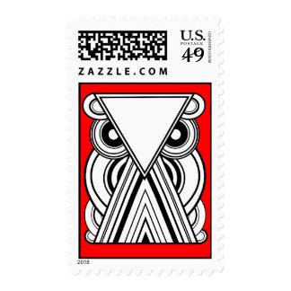 Búho abstracto decorativo (negro, blanco y rojo) sellos