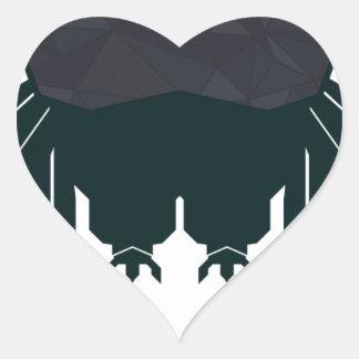 Búho abstracto pegatina en forma de corazón