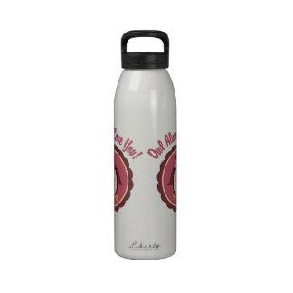 Búho adorable de la tarjeta del día de San Valentí Botellas De Agua Reutilizables