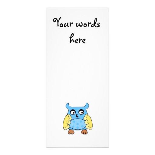Búho amarillo azul con los lunares azules tarjeta publicitaria a todo color