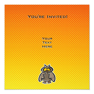"""Búho amarillo-naranja invitación 5.25"""" x 5.25"""""""