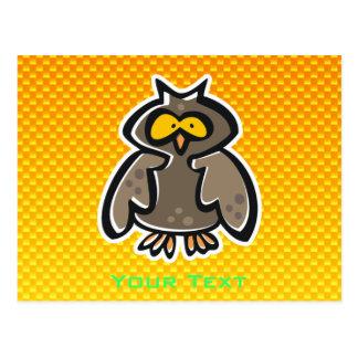 Búho amarillo-naranja tarjeta postal