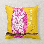 Búho amarillo y rosado personalizado del vintage d almohadas