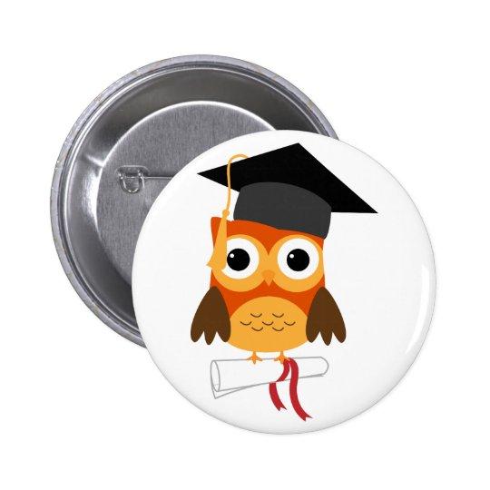 Búho anaranjado con el botón de la graduación del  pin redondo de 2 pulgadas