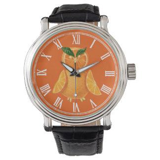 Búho anaranjado reloj de mano