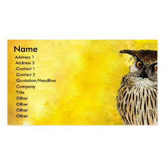 Búho animal del pájaro tarjetas de visita