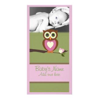 Búho Announcment del bebé Tarjeta Fotográfica Personalizada