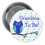 "Búho azul ""abuela a ser"" botón de la fiesta de bie pin"