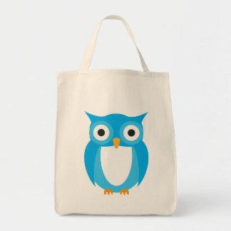 Búho azul - añada su propio texto bolsa tela para la compra