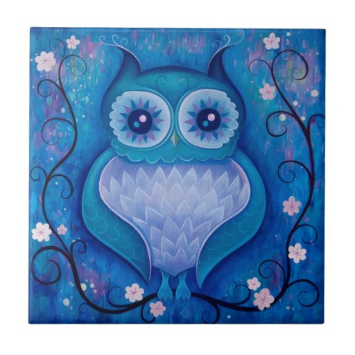 búho azul azulejos ceramicos