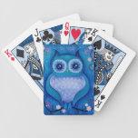 búho azul baraja cartas de poker
