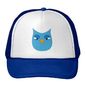 Búho azul claro enojado gorras