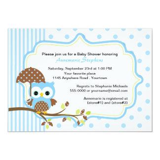 """Búho azul con la fiesta de bienvenida al bebé de invitación 5"""" x 7"""""""