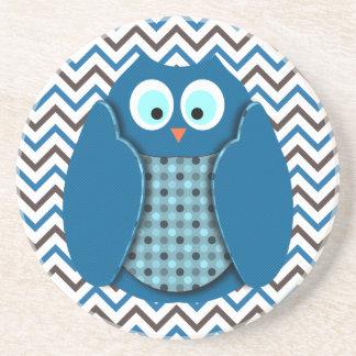 Búho - azul con los lunares posavasos personalizados