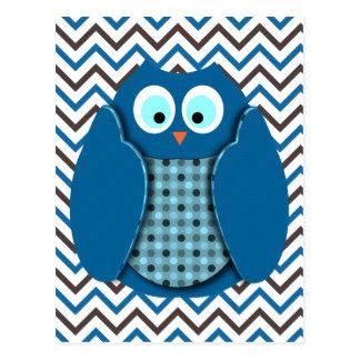 Búho - azul con los lunares postales
