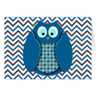 Búho - azul con los lunares tarjeta de felicitación