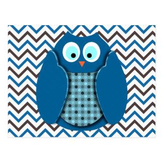 Búho - azul con los lunares tarjetas postales