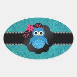 Búho azul de lujo de la turquesa del búho calcomanías óvales