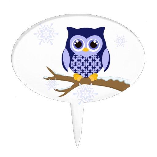 Búho azul del invierno decoración de tarta