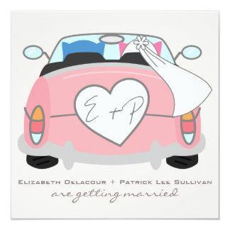 Búho azul del novio y invitación rosada del boda invitación 13,3 cm x 13,3cm