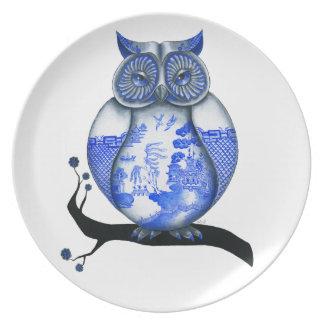 Búho azul del sauce plato de cena