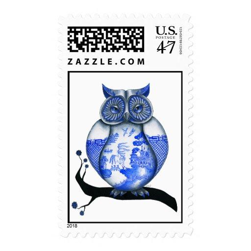 Búho azul del sauce sellos