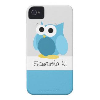 Búho azul divertido - caja personalizada del iPhon iPhone 4 Case-Mate Cárcasas