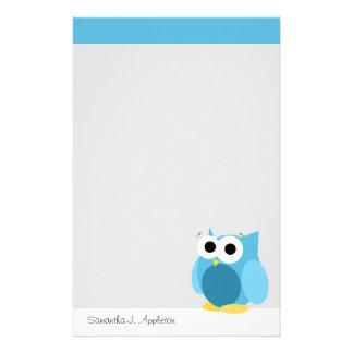 Búho azul divertido - efectos de escritorio person papelería