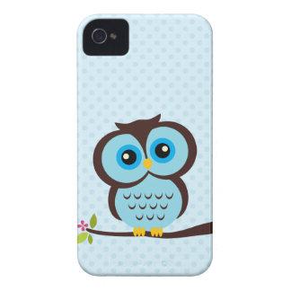 Búho azul dulce iPhone 4 protectores