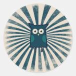 Búho azul fresco etiquetas redondas