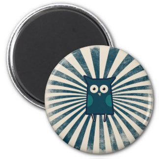 Búho azul fresco imán redondo 5 cm
