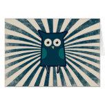 Búho azul fresco tarjetas
