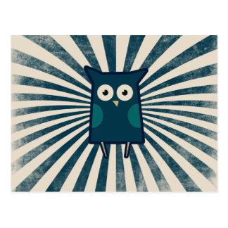 Búho azul fresco tarjetas postales