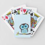 Búho azul lindo barajas de cartas