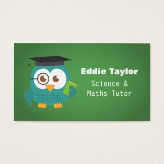 Búho azul lindo con el gorra de la graduación, tarjetas de visita