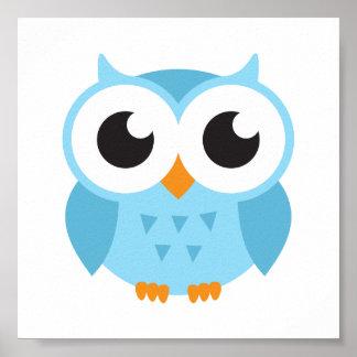 Búho azul lindo del bebé del dibujo animado impresiones
