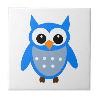 Búho azul lindo del dibujo animado azulejo ceramica