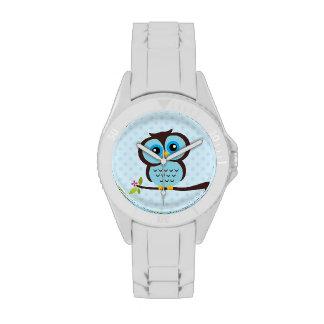 Búho azul lindo reloj de mano