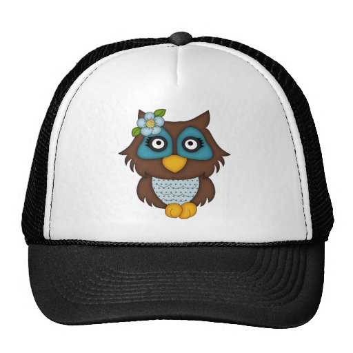 Búho azul retro gorra