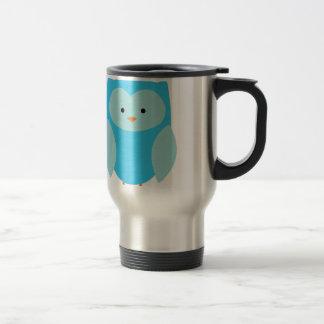 Búho azul taza de viaje