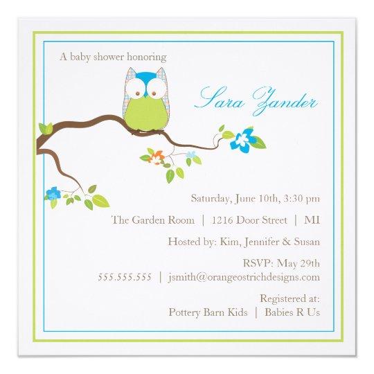Búho azul y verde de la invitación de la fiesta de