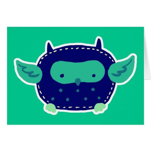 Búho azul y verde del bebé tarjeta de felicitación