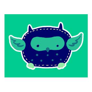 Búho azul y verde del bebé tarjetas postales