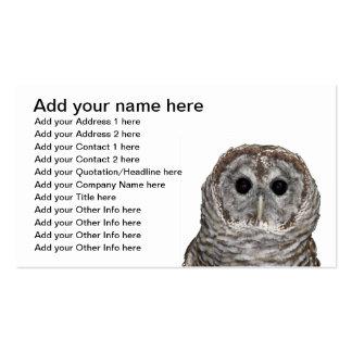 Búho barrado tarjetas de visita
