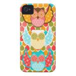 Búho Boheme tres búhos coloridos iPhone 4 Carcasas