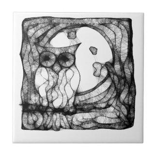 Búho cambiante abstracto azulejo cuadrado pequeño