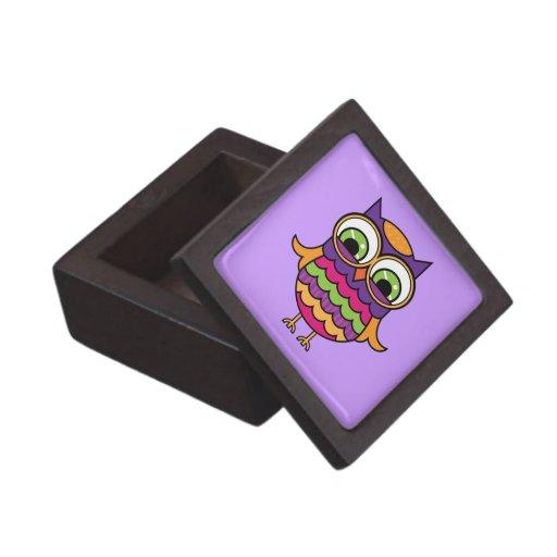 Búho colorido caprichoso cajas de joyas de calidad