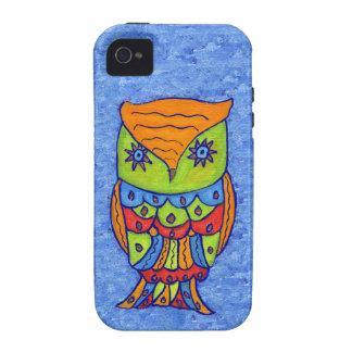 Búho colorido caprichoso de la fantasía iPhone 4/4S carcasa