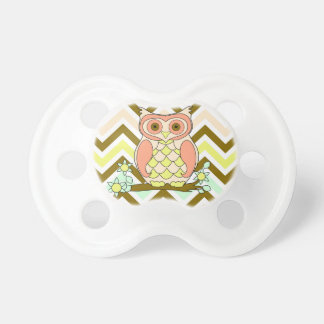 Búho colorido contra pacificador del fondo de chupetes para bebés