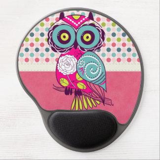 Búho colorido de moda retro del arte popular alfombrilla gel